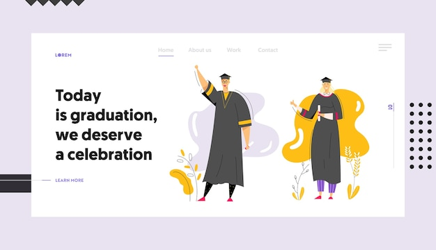 Graduating students with diploma banner template. man and woman characters graduation education concept. university student college graduate landing page.