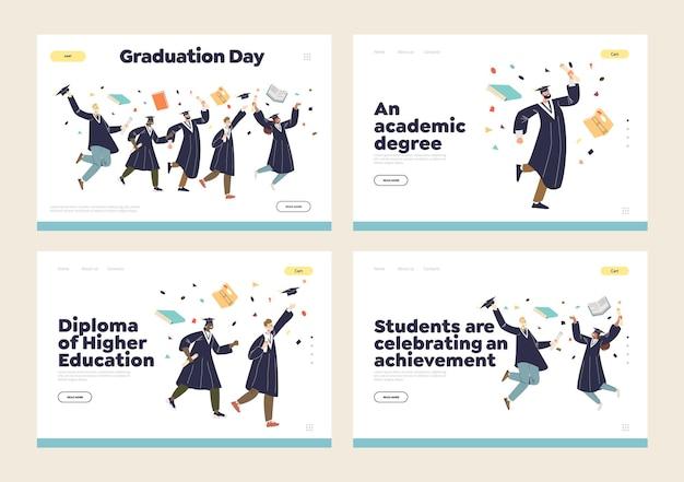 가운과 모자를 입고 축하 행복 졸업생 학생들과 방문 페이지 집합의 졸업 및 고등 교육 학위 교육 개념. 플랫 만화