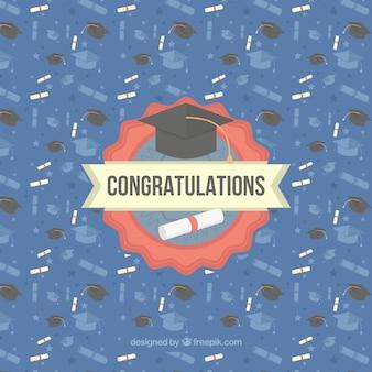 Graduation background with diplomas and birettas in flat design