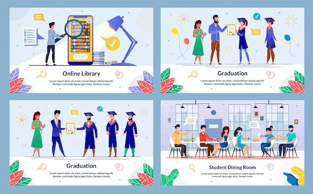 Graduation banner template set