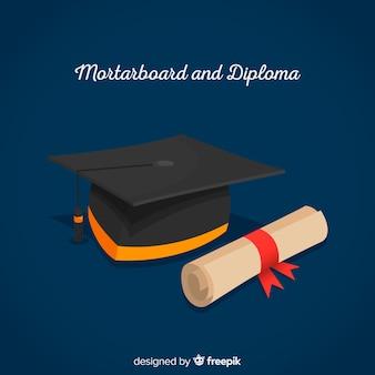 평면 디자인 졸업 모자 및 졸업장