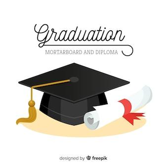 Выпускной колпак и диплом с плоским дизайном