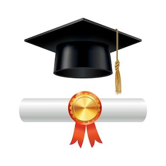 Вручение диплома и свернутый свиток диплома с печатью. закончите образовательную концепцию. академическая шляпа с кисточкой и аттестатом об окончании высшего образования.