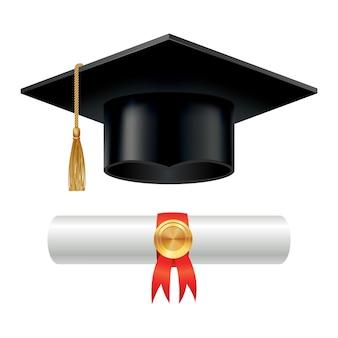 Выпускной колпачок и свернутый свиток диплома с печатью