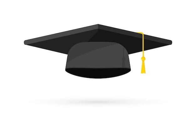 Кепка на выпускной. черная шляпа выпускника университета, элементы дизайна шаблона. выпускной логотип. элемент для церемонии вручения дипломов и образовательных программ. выпускной университет или колледж