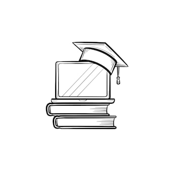 Graduation cap on book and laptop hand drawn outline doodle icon. online university graduation vector sketch illustration for print, web, mobile and infographics isolated on white background.