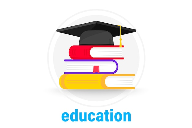 Graduation cap on books. mortarboard cap on piles of textbooks. stack of books with graduation cap. concept of higher education or study. school, college, university, education, schooling icon