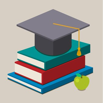 Graduation cap on books.