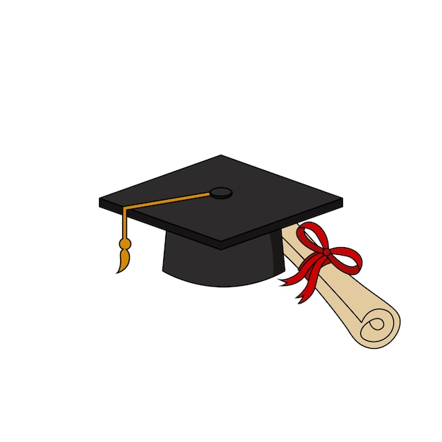 Graduation cap certificate icon illustration design template