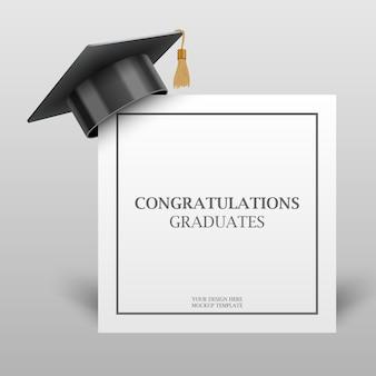 Graduation cap on congratulation paper