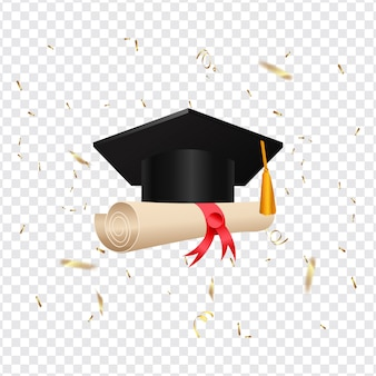 Graduation cap and diploma scroll on transparent background.