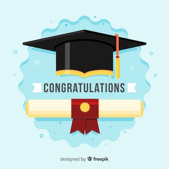 Graduation cap and diploma with flat design
