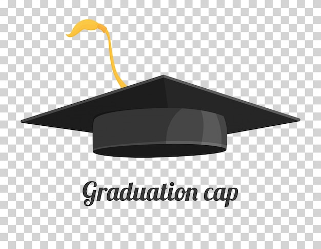 Graduation cap or hat vector illustration in the flat style.