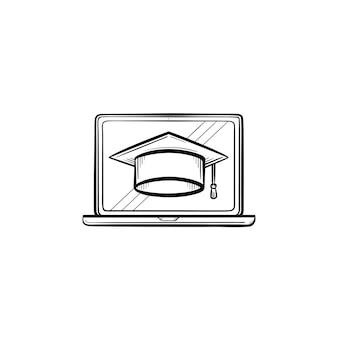 컴퓨터 화면 손으로 그린 개요 낙서 아이콘에 졸업 모자. 인쇄, 웹, 모바일 및 흰색 배경에 고립 된 인포 그래픽에 대 한 벡터 스케치 그림을 학습합니다.