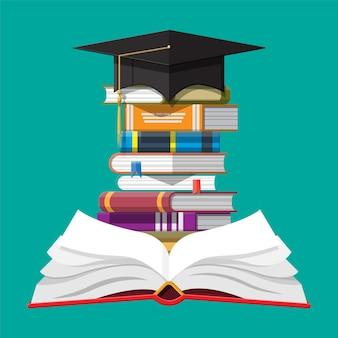 도 서의 스택에 졸업 모자입니다. 학업 및 학교 지식, 교육 및 졸업. 독서, 전자책, 문학, 백과사전. 평면 스타일의 벡터 일러스트 레이 션