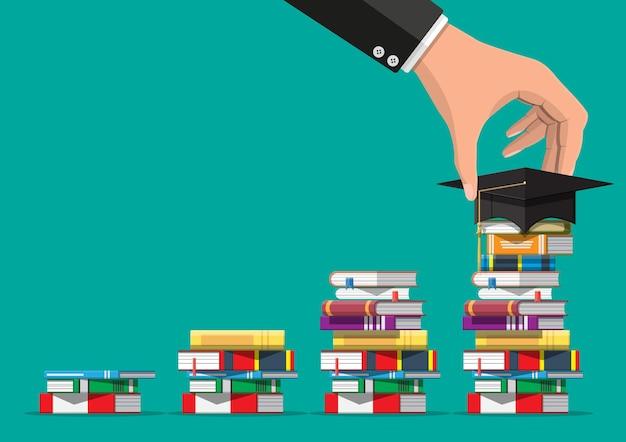本のスタックの卒業キャップ。学術および学校の知識、教育および卒業。読書、電子書籍、文学、百科事典。