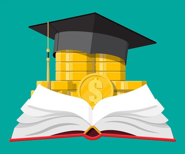 卒業式の帽子、開いた本と金貨。教育の節約と投資の概念。学術および学校の知識。