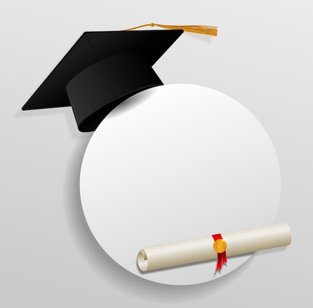 Вручение диплома шапка или шляпа векторные иллюстрации в плоском стиле