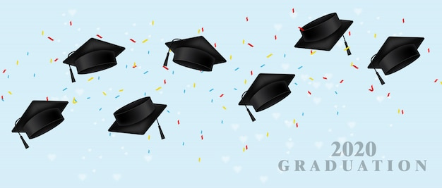 Graduation cap realistic template