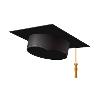 Graduation cap on white background,  illustration.