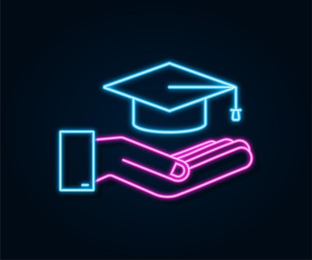 Graduation cap with tassel in hands, neon mortar board. vector stock illustration.