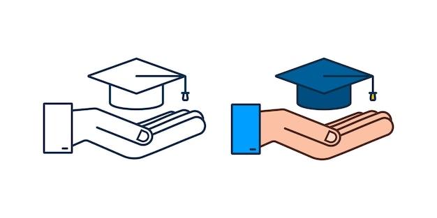 Graduation cap with tassel in hands, realistic mortar board. vector stock illustration.