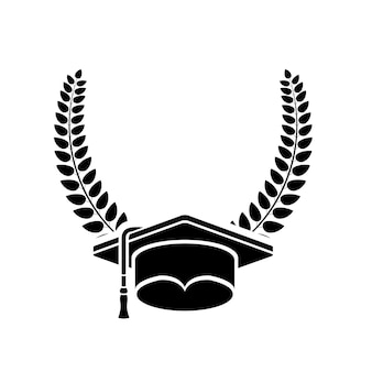 Graduation cap and wreath icon