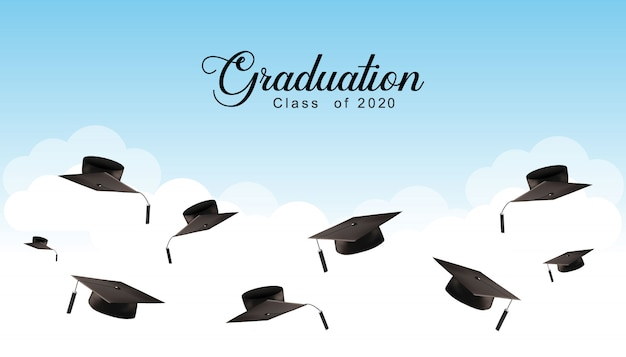 Graduation caps in the air background