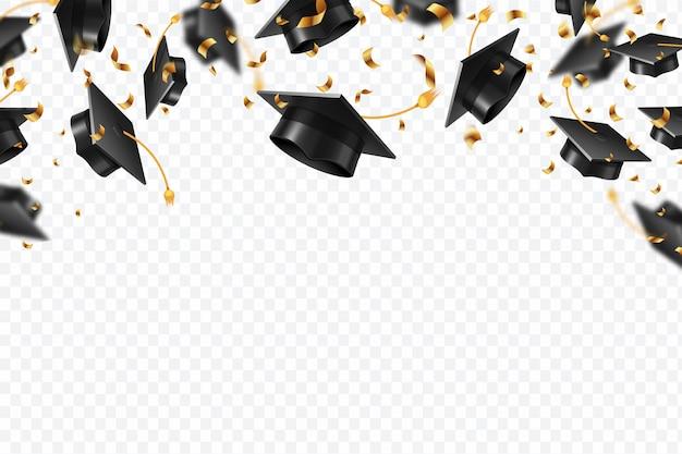 卒業帽子紙吹雪。金色のリボンで飛ぶ学生の帽子。大学、カレッジの学校教育の背景
