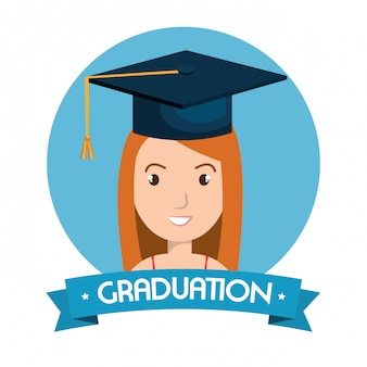 Graduation card isolated illustration