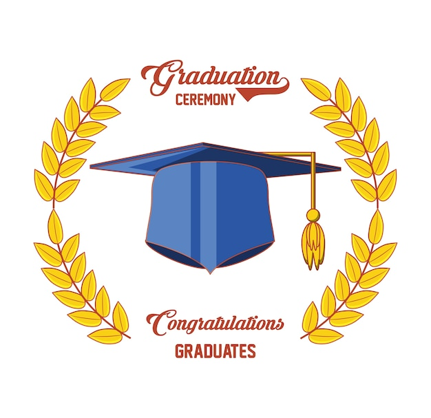 帽子アイコン付きの卒業カード