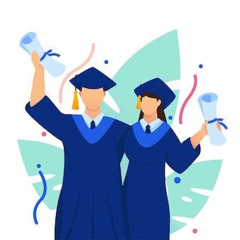 Graduation celebrate couple flat illustration