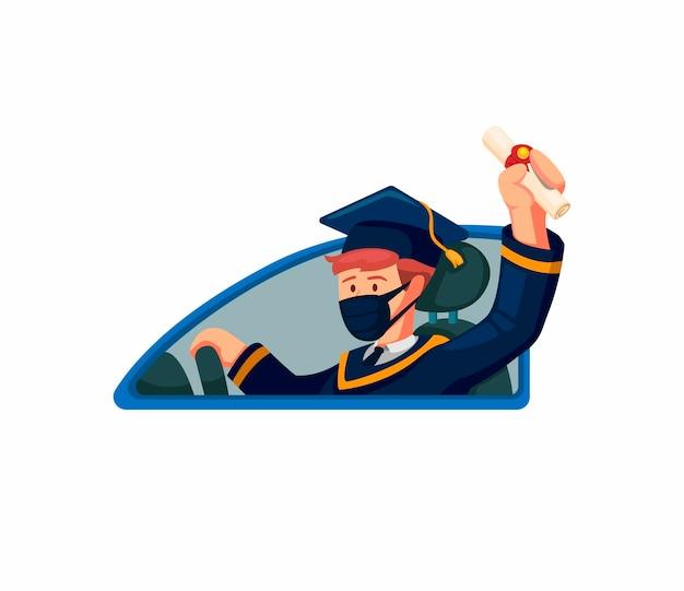 卒業はパンデミックの後、新しい通常の乗馬車で祝います。白い背景の上の概念漫画イラスト
