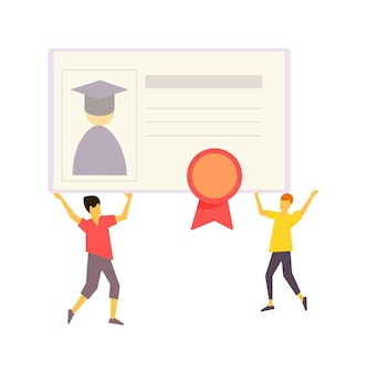 Graduation celebration, completion e-learning with diploma