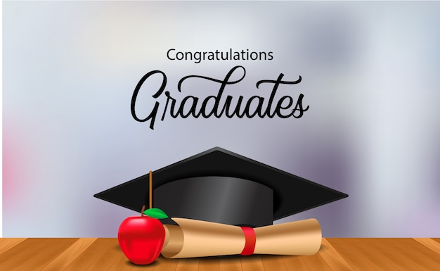 Graduation ceremony party with illustration graduation cap on the wood floor