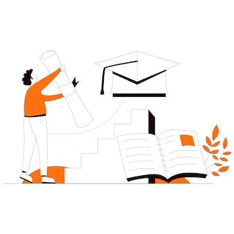 卒業証明書教育フラットスタイルイラストベクトル