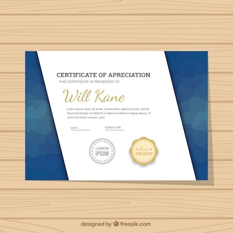 Graduation certificate with abstract forms in blue tones