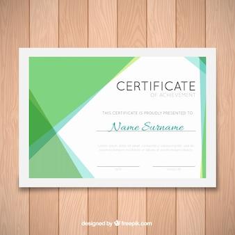 青と緑の形状の卒業証明書