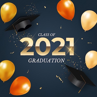Graduation class of 2021 with graduation cap hat balloons and confetti
