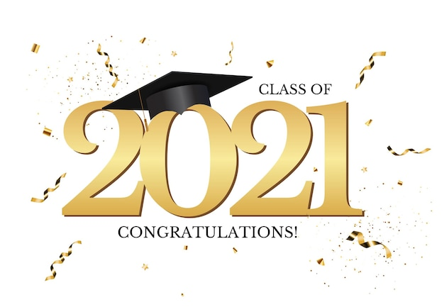 Graduation class of 2021 with graduation cap hat and confetti