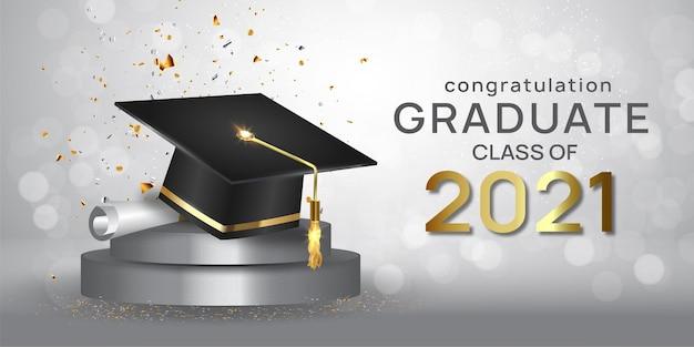 Graduation class of 2021 with graduation cap hat