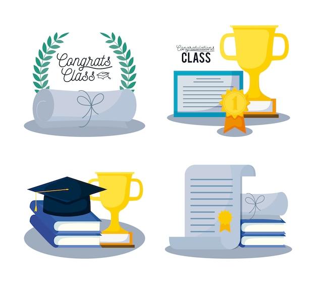 Graduation class card set icons