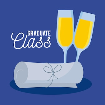 Graduation class celebration card with diploma