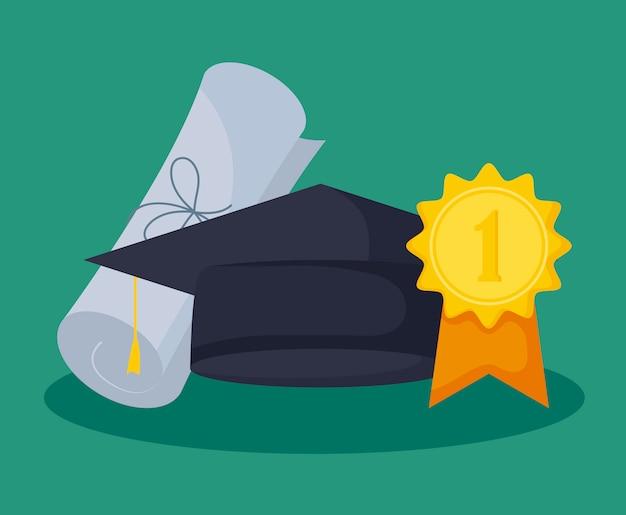 Празднование выпускного класса с шляпой и дипломом