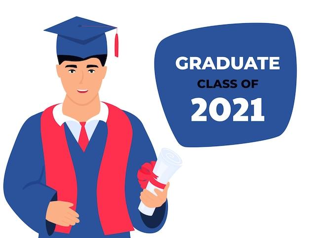 2021년 졸업반. 가상행사. 졸업생은 손에 졸업장을 들고 있습니다.