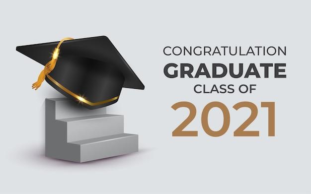 계단에 졸업 모자를 쓴 2021 년 졸업반