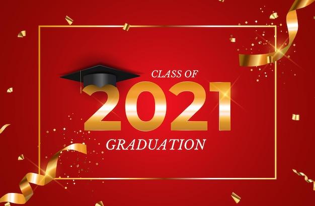 卒業帽と紙吹雪を備えた2021年の卒業クラス