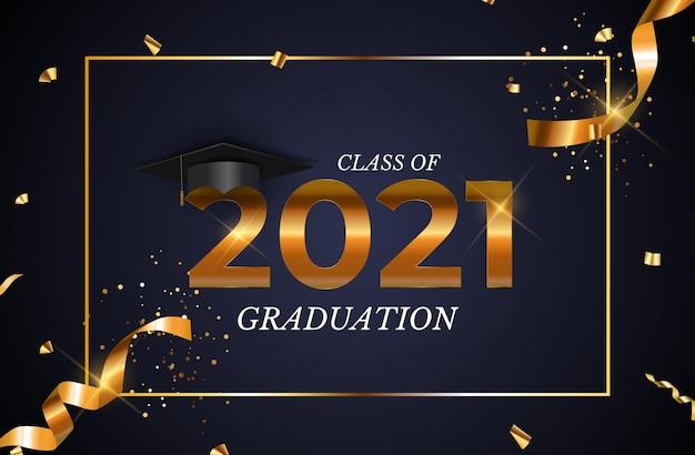 졸업 모자 모자와 색종이 조각으로 2021 년 졸업반