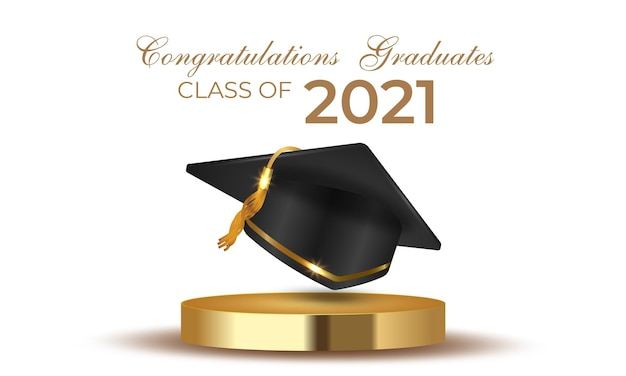 금 연단에 졸업 모자 모자를 쓴 2021 년 졸업반