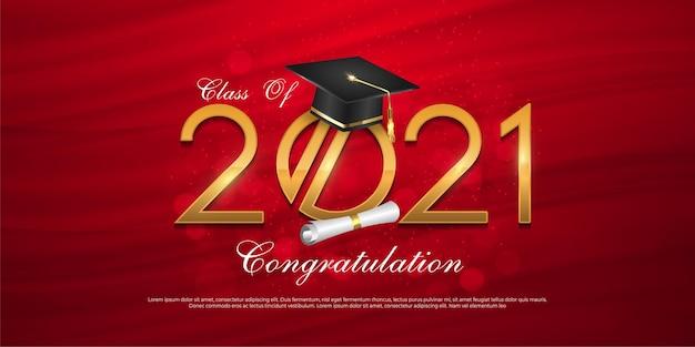 졸업 모자 모자를 쓴 2021 년 졸업반